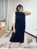 Dress Summer 2021 black Average size longuette singleton  Sleeveless street Crew neck Solid color Socket routine Type H printing 51% (inclusive) - 70% (inclusive) Europe and America