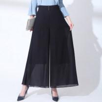 Casual pants Black, dot, big flower M (2 feet), l (2 feet 1), XL (2 feet 2), XXL (2 feet 3), 3XL (2 feet 4), 4XL (2 feet 5) Summer 2020 trousers Wide leg pants High waist Versatile Thin money 71% (inclusive) - 80% (inclusive) AZL6005 other pocket nylon