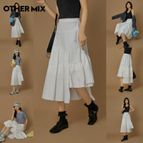 skirt Spring 2021 S M L XL Simple white pre sale simple white spot Mid length dress commute High waist Irregular Solid color Type A 18-24 years old BMP2208V More than 95% Othermix cotton Asymmetric splicing Korean version Cotton 100% Same model in shopping mall (sold online and offline)