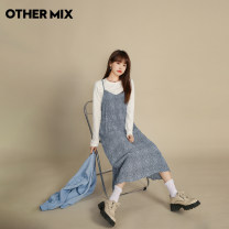 Dress Spring 2021 Quiet blue spot quiet blue S M L XL Mid length dress singleton  Sleeveless commute High waist Broken flowers Socket One pace skirt Others 18-24 years old Type H Othermix Korean version fold BMB1219W More than 95% other polyester fiber