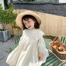 Dress Off white female 0-3 90cm,100cm,110cm,120cm,130cm Other 100% spring and autumn Korean version Long sleeves Solid color other Princess Dress Class A Three, eight