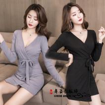 Dress Winter of 2019 Gray, black S,M,L,XL,2XL Miniskirt singleton  commute V-neck High waist other raglan sleeve 25-29 years old lady 81% (inclusive) - 90% (inclusive) brocade cotton