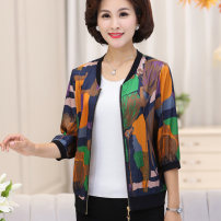 Middle aged and old women's wear Autumn 2020 Decor 1 Decor 2 Decor 3 XL 2XL 3XL 4XL 5XL fashion Jacket / jacket easy singleton  Decor 40-49 years old Cardigan moderate stand collar Short (length 35-50cm) routine OZS19CDJ028 The clothes of Europe zipper other New polyester fiber 100% 96% and above