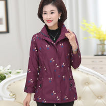 Middle aged and old women's wear Spring 2021 fashion Jacket / jacket easy singleton  lattice 50-59 years old Cardigan moderate Polo collar Medium length (length 50-70cm) routine The clothes of Europe pocket polyester Polyester 100% 96% and above Pure e-commerce (online only) zipper