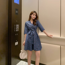 Dress Summer 2020 Dark blue (high quality stock) S,M,L,XL Middle-skirt singleton  three quarter sleeve street V-neck middle-waisted other routine Others Type A brocade