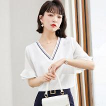 Lace / Chiffon Summer 2021 white S,M,L,XL,2XL Short sleeve Versatile Socket singleton  Self cultivation Regular V-neck Solid color pagoda sleeve 51% (inclusive) - 70% (inclusive) polyester fiber