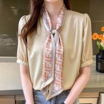 shirt Yellow, pink S,M,L,XL,2XL Summer 2021 other 96% and above Short sleeve commute Regular V-neck Socket routine Solid color Self cultivation Korean version Button