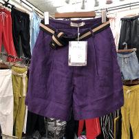 Casual pants White purple Khaki dark blue black S M L Summer of 2018 High waist Thin money Me too hemp