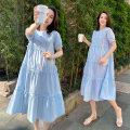 Dress Zilan White, blue, pink M L XL XXL Korean version Short sleeve Medium length summer Crew neck Solid color