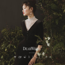 """Dress / evening wear Wedding, adulthood, party, company annual meeting, performance, routine, appointment S,M,L Spot """"night song · the first land"""", pre-sale May 14 delivery, pre-sale """"45 days delivery"""" grace Middle-skirt middle-waisted Summer of 2019 Self cultivation Deep collar V Deep V style velvet"""