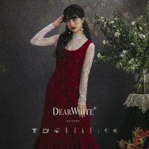 Dress / evening wear Adulthood, routine, dating, wedding, performance, party, company annual meeting S,M,L grace longuette middle-waisted Spring 2021 A-line skirt U-neck zipper Silk velvet 26-35 years old Sleeveless Nail bead Dearwhite / Dear white routine 96% and above Crystal tube