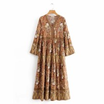 Dress Autumn of 2019 8613,8622 S,M,L longuette street V-neck High waist 18-24 years old More than 95% Europe and America