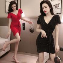 Dress Autumn of 2019 Black, blue, red S,M,L,XL Short skirt singleton  commute V-neck 18-24 years old Korean version