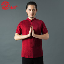 shirt Business gentleman Lailong gules routine stand collar Short sleeve standard Other leisure summer middle age Chinese style 2018 other No iron treatment other other Easy to wear