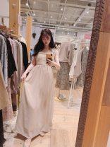 Dress Summer 2021 IVR off white , BRW Brown F singleton  flower More than 95% other