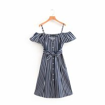 Dress Summer of 2018 As shown in the figure S,M,L Mid length dress singleton  Sleeveless street One word collar High waist stripe Socket A-line skirt camisole Europe and America