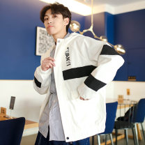 Jacket Other / other Youth fashion Black, white M,L,XL,2XL,3XL routine easy Other leisure spring A436-K01 Long sleeves Wear out Hood Hip hop teenagers routine Zipper placket 2019 Cloth hem No iron treatment Closing sleeve Solid color Color matching Digging bags with lids