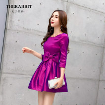 Dress Spring 2017 Fuchsia 3 / 4 sleeve Fuchsia long sleeve 155/80A/S 160/84A/M 165/88A/L 170/92A/XL 175/96A/XXL Short skirt other three quarter sleeve commute Crew neck High waist Solid color other Princess Dress other Others 25-29 years old Type A The rabbit leader Korean version bow T88446 other