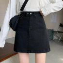 skirt Summer 2021 S M L XL black Short skirt Sweet High waist Denim skirt Solid color Type A Under 17 zxqQeF More than 95% Denim Swallow Castle other PU solar system