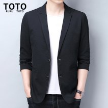 man 's suit Black, Navy RURU&TOTO Fashion City routine L,XL,2XL,3XL New polyester fiber 100% standard Double breasted Other leisure Back middle slit youth Long sleeves spring routine Casual clothes Flat lapel Straight hem Solid color Regular collar (collar width 7-9cm) Woolen cloth 2020 other