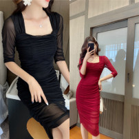 Dress Summer 2020 S,M,L,XL Middle-skirt singleton  three quarter sleeve commute square neck middle-waisted Solid color Socket Pleated skirt routine Others 18-24 years old Type H Korean version Pleat, pleat 71% (inclusive) - 80% (inclusive) polyester fiber