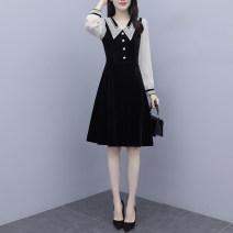 Women's large Autumn 2020 black M (recommended 85-100 kg) l (recommended 100-118 kg) XL (recommended 118-130 kg) 2XL (recommended 130-150 kg) 3XL (recommended 150-165 kg) 4XL (recommended 165-180 kg) 5XL (recommended 180-200 kg) singleton  commute Socket Long sleeves Korean version Polo collar Button