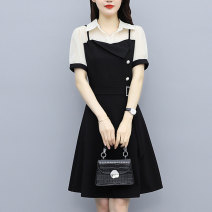 Women's large Summer 2021 black M (recommended 85-100 kg) l (recommended 100-118 kg) XL (recommended 118-130 kg) 2XL (recommended 130-150 kg) 3XL (recommended 150-165 kg) 4XL (recommended 165-180 kg) Dress Fake two pieces commute Self cultivation moderate Socket Short sleeve Solid color Retro routine