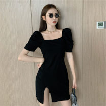 Women's large Summer 2020 Black, gray Large L, large XL, s, M Dress singleton  commute Self cultivation moderate Socket Short sleeve Solid color Korean version square neck puff sleeve 18-24 years old Short skirt other
