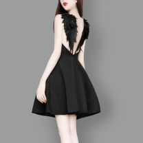 Dress Summer 2020 Dark night, white dream S,M,L,XL,XS Short skirt singleton  Sleeveless Sweet V-neck High waist Solid color Socket Big swing other camisole Type X More than 95% other other princess