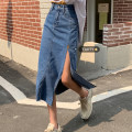 skirt Summer 2021 S,M,L blue Mid length dress commute High waist skirt Solid color Type A 18-24 years old Pocket, button, zipper Korean version