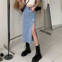 skirt Summer 2021 S,M,L blue Mid length dress commute High waist Denim skirt Solid color Type A 18-24 years old Pocket, button, zipper Korean version