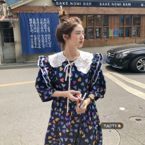 Dress Summer 2021 White dress piece, dark blue dress piece, white baby collar piece Average size longuette singleton  elbow sleeve commute Doll Collar High waist other Socket A-line skirt puff sleeve Others 25-29 years old Type A Korean version