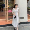 Dress Summer 2021 Black long, white long, black short, white short S, M Mid length dress singleton  Short sleeve commute square neck High waist Solid color Socket A-line skirt puff sleeve Others 18-24 years old Type A Korean version A914