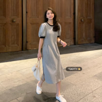 Dress Summer 2021 Gray, black Average size longuette singleton  Short sleeve commute Crew neck High waist other Socket A-line skirt puff sleeve Others 18-24 years old Type A Korean version Splicing