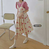Dress Summer 2021 Pink shirt, pink dotted skirt, yellow shirt, yellow dotted skirt Average size longuette singleton  Sleeveless commute V-neck High waist Dot Socket A-line skirt other camisole 18-24 years old Type A Korean version B125