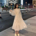 Dress Spring 2021 Apricot skirt piece, apricot vest piece Average size longuette Two piece set Long sleeves commute other High waist Solid color Socket A-line skirt puff sleeve Others 18-24 years old Type A Korean version Bows, fringes