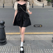Dress Summer 2021 Dress, coat S,M,L Short skirt singleton  Short sleeve commute square neck High waist other Socket A-line skirt puff sleeve Others 18-24 years old Type A Korean version Bowknot, stitching