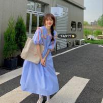 Dress Summer 2021 Blue, red Average size Mid length dress singleton  Short sleeve commute Doll Collar High waist lattice Socket A-line skirt puff sleeve Others 18-24 years old Type A Korean version