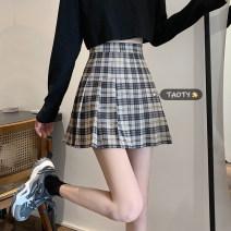 skirt Summer 2021 S,M,L,XL Apricot, grey, purple Short skirt commute High waist Pleated skirt lattice Type A 18-24 years old Korean version