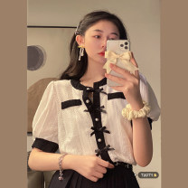 shirt White, black Average size Summer 2021 other 30% and below Short sleeve commute Regular Crew neck Single row multi button puff sleeve other 18-24 years old Self cultivation Korean version