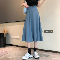 skirt Summer 2021 S,M,L Apricot, blue, black longuette commute High waist A-line skirt Solid color Type A 18-24 years old Korean version