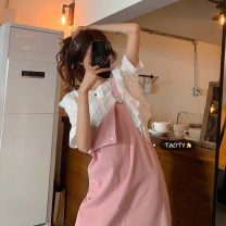 Dress Summer 2021 Single shirt, single back skirt Average size Mid length dress Two piece set Sleeveless commute other Loose waist Solid color Socket A-line skirt other straps 18-24 years old Type A Korean version