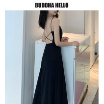Dress Summer of 2019 Red, black Average size Mid length dress singleton  Sleeveless commute One word collar High waist Solid color Socket A-line skirt other camisole 18-24 years old Type A Retro