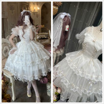 Dress Summer 2021 M, L Short skirt Two piece set Long sleeves Sweet One word collar middle-waisted lattice other Princess Dress puff sleeve Others 18-24 years old Sauce 71% (inclusive) - 80% (inclusive) other other Lolita