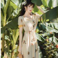 Dress Summer 2020 Wax chrysanthemum yellow S,M,L longuette singleton  Short sleeve commute Elastic waist Decor Retro
