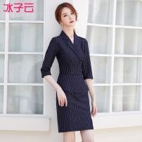 Dress Spring 2021 S M L XL 2XL 3XL 4XL Mid length dress singleton  elbow sleeve commute tailored collar High waist lattice Socket A-line skirt routine Others 25-29 years old Ice cloud Korean version 51% (inclusive) - 70% (inclusive) other cotton Exclusive payment of tmall