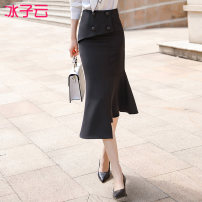skirt Spring 2020 S M L XL XXL XXXL XXXXL Black skirt Mid length dress High waist 144HEN1068S01 More than 95% Ice cloud polyester fiber Polyester 96% polyurethane elastic fiber (spandex) 4%
