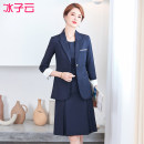 Professional dress suit S M L XL 2XL 3XL 4XL Grey Plaid suit coat Navy Plaid suit coat Spring 2021 Long sleeves 111HY5806S01XH Coat other styles Suit skirt 25-35 years old Ice cloud Polyethylene terephthalate (polyester) 68% Cotton 30% polyurethane elastic fiber (spandex) 2%