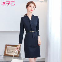 Dress Spring 2021 Navy (one piece dress) XXXXL S M L XL XXL XXXL Mid length dress singleton  Nine point sleeve commute V-neck middle-waisted Solid color Socket One pace skirt routine Others 25-29 years old Type H Ice cloud Ol style zipper 31% (inclusive) - 50% (inclusive) nylon