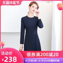 Dress Spring 2021 Navy Dress S M L XL 2XL 3XL 4XL Mid length dress singleton  Long sleeves commute Crew neck High waist Solid color Socket A-line skirt routine Others 25-29 years old Ice cloud Korean version 144HY2101S05X More than 95% Chiffon polyester fiber Exclusive payment of tmall